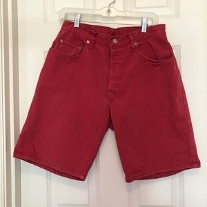 Men's Red Denim Shorts
